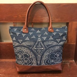 Old Navy Painted Denim & Faux Leather Bucket Bag